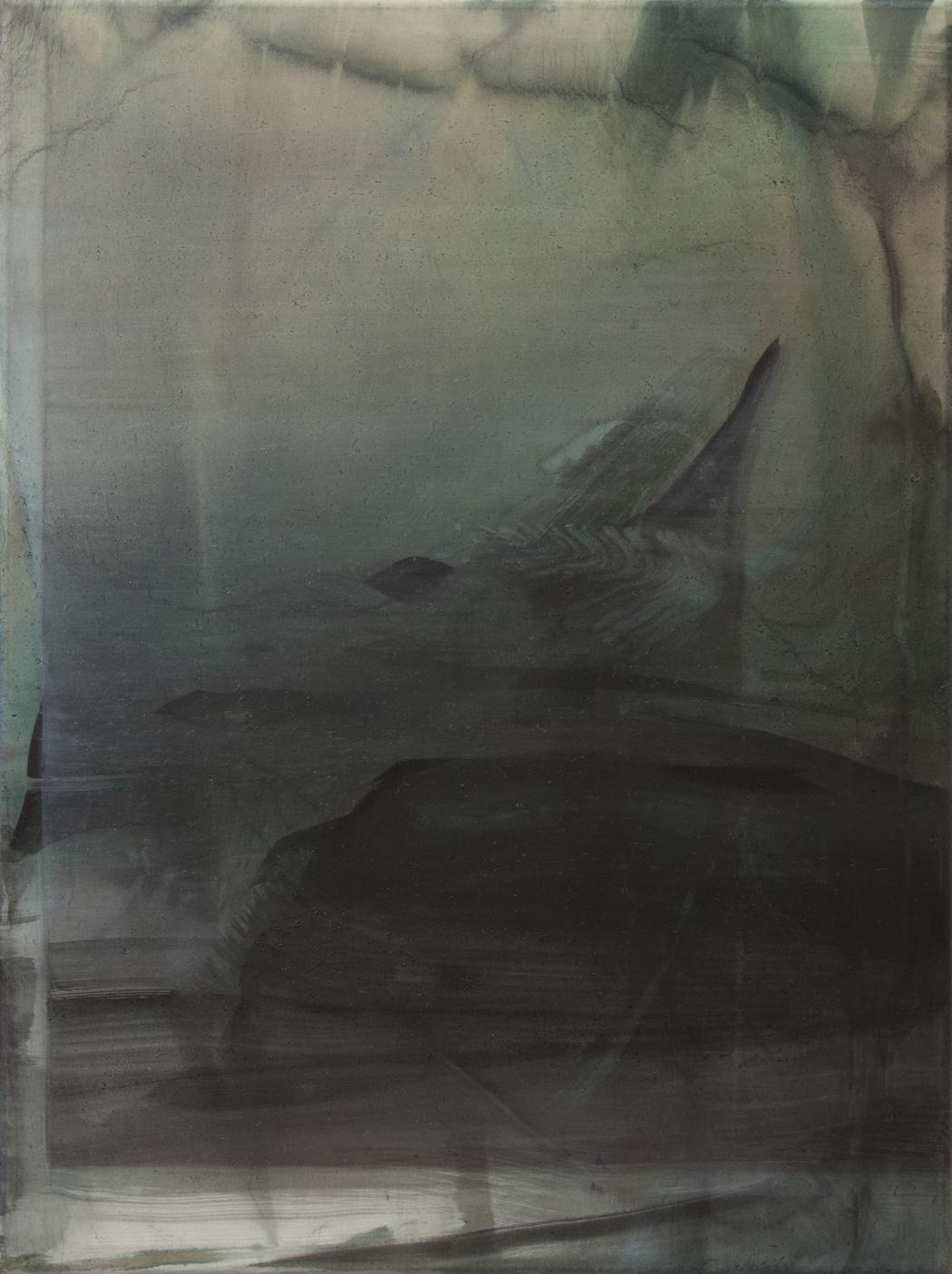 Gangavathi II, 2015, Tusche, Öl auf Nylon, 40 x 30 cm