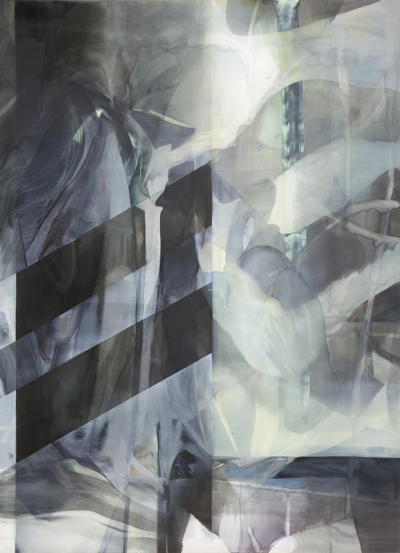 Natascha Schmitten_Untitled, 2016, Tusche, Öl auf Nylon, 220 x 160 cm