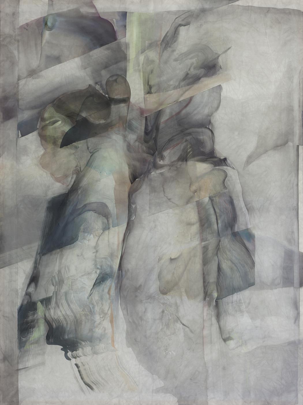 Natascha Schmitten_X-Ray, 2016, Tusche, Öl auf Nylon, 200 x 150 cm