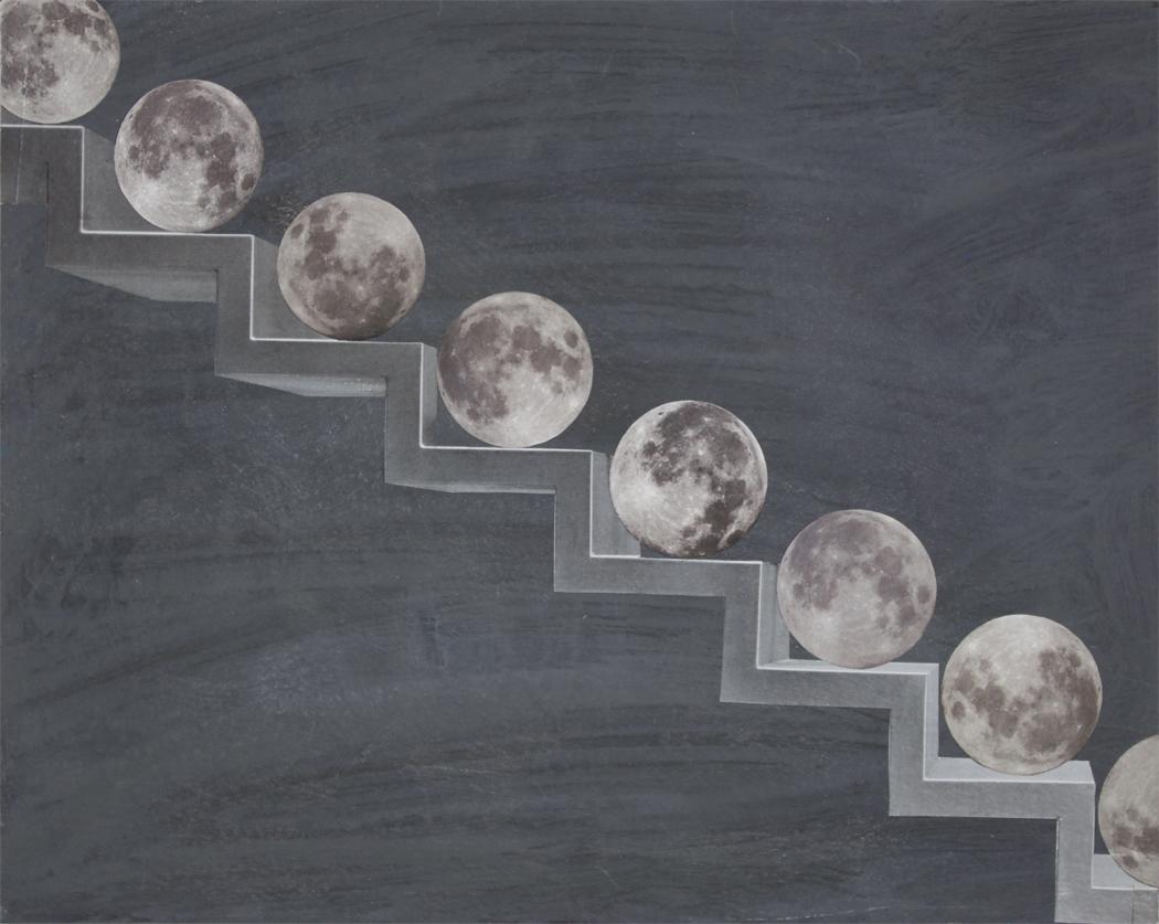 Many Moons Ago (2016) Collage, Papier und Tempera auf Karton 28x22,5
